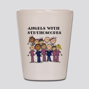 Angels With Stethoscopes Shot Glass