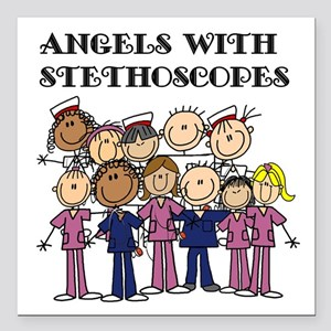 "Angels With Stethoscopes Square Car Magnet 3"" x 3"""