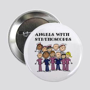 """Angels With Stethoscopes 2.25"""" Button"""