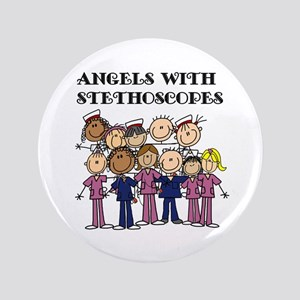 Angels With Stethoscopes Button