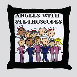 Angels With Stethoscopes Throw Pillow