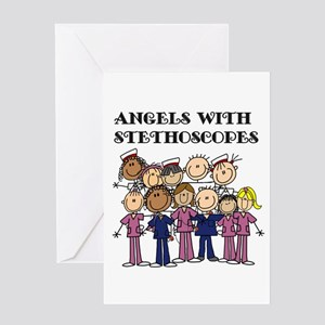 Angels With Stethoscopes Greeting Card