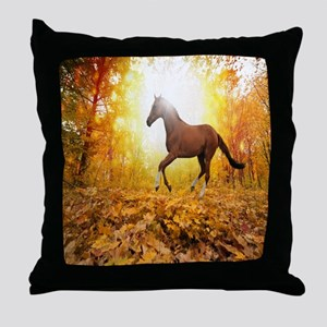 Horse Autumn Throw Pillow