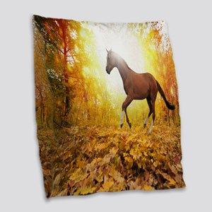 Horse Autumn Burlap Throw Pillow