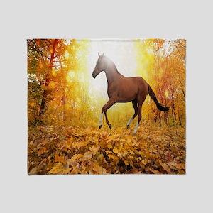 Horse Autumn Throw Blanket