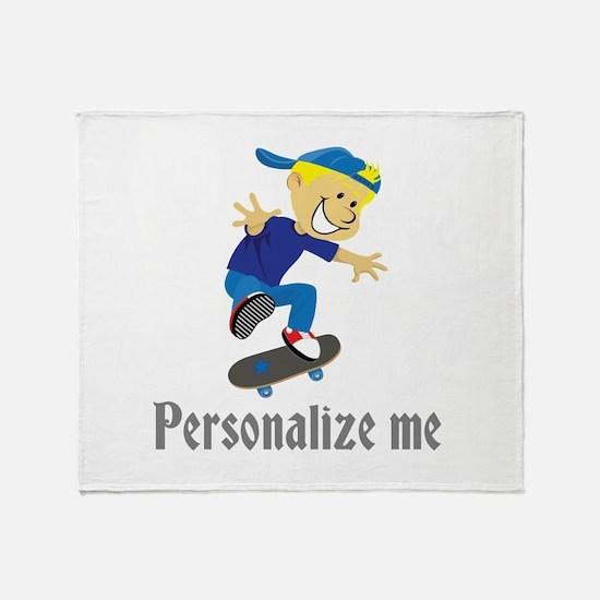 Personalize Boy On A Skateboard Throw Blanket