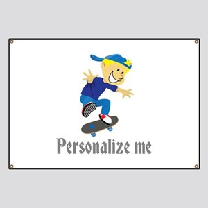 Personalize Boy On A Skateboard Banner