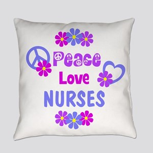 Peace Love Nurses Everyday Pillow