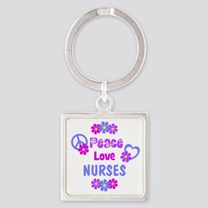 Peace Love Nurses Square Keychain