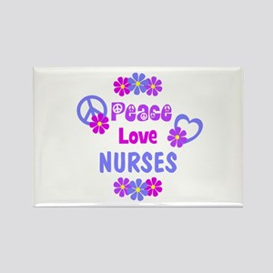 Peace Love Nurses Rectangle Magnet