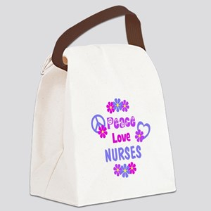 Peace Love Nurses Canvas Lunch Bag
