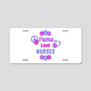 Peace Love Nurses Aluminum License Plate