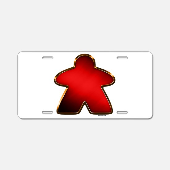 Metallic Meeple - Red Aluminum License Plate