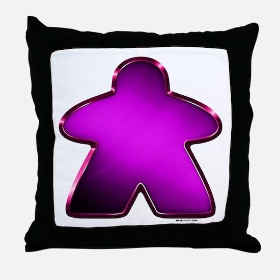 Metallic Meeple - Purple Throw Pillow