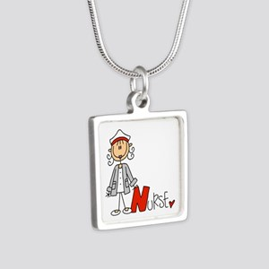 Female Stick Figure Nurse Silver Square Necklace