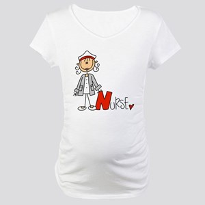 Female Stick Figure Nurse Maternity T-Shirt