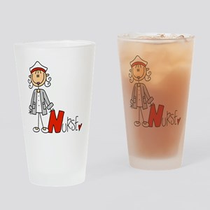 Female Stick Figure Nurse Drinking Glass