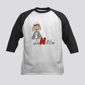Female Stick Figure Nurse Kids Baseball Jersey