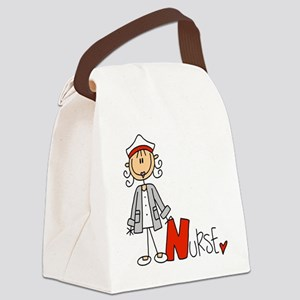 Female Stick Figure Nurse Canvas Lunch Bag