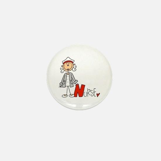 Female Stick Figure Nurse Mini Button