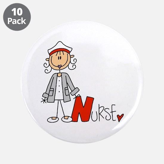 """Female Stick Figure Nurse 3.5"""" Button (10 pack)"""