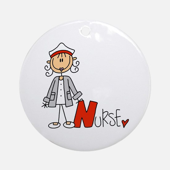 Female Stick Figure Nurse Ornament (round)