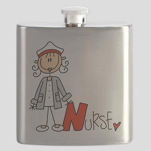 Female Stick Figure Nurse Flask