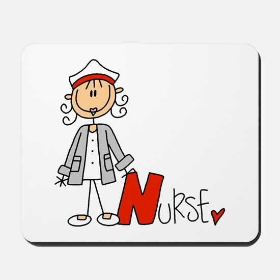 Female Stick Figure Nurse Mousepad