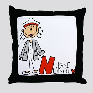 Female Stick Figure Nurse Throw Pillow