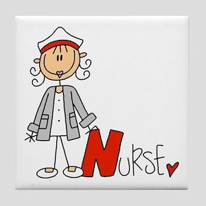 Female Stick Figure Nurse Tile Coaster
