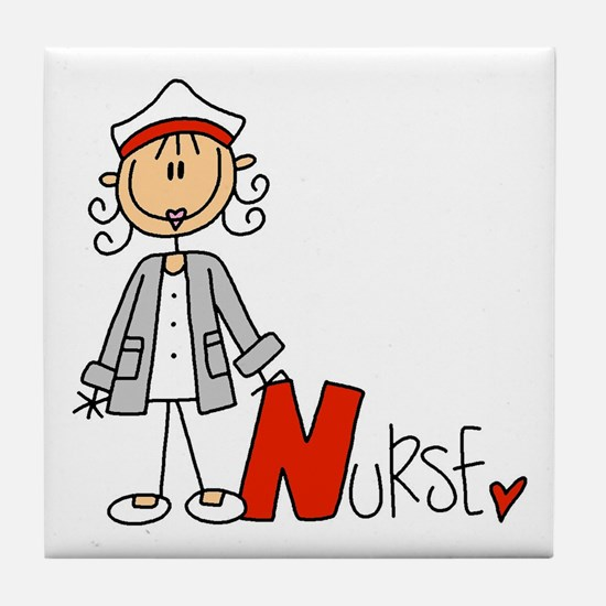 Female Stick Figure Nurse Tile Coaster