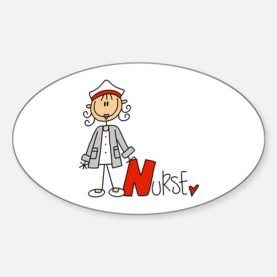 Female Stick Figure Nurse Sticker (Oval)