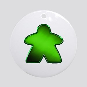 Metallic Meeple - Green Ornament (Round)