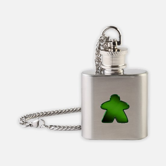 Metallic Meeple - Green Flask Necklace