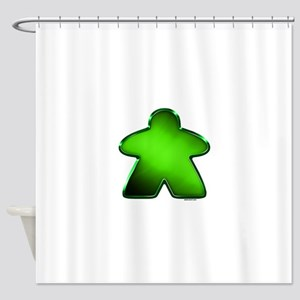 Metallic Meeple - Green Shower Curtain