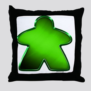 Metallic Meeple - Green Throw Pillow