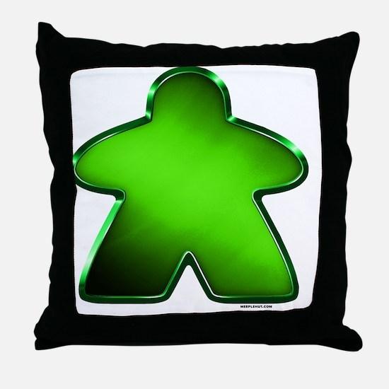 Metallic Meeple - Green Throw Pillow