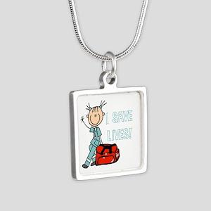 Female EMT I Save Lives Silver Square Necklace