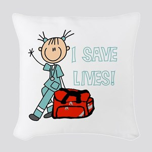 Female EMT I Save Lives Woven Throw Pillow