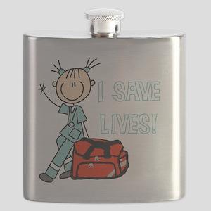 Female EMT I Save Lives Flask