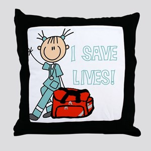 Female EMT I Save Lives Throw Pillow