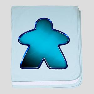 Metallic Meeple - Blue baby blanket