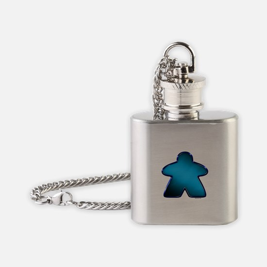 Metallic Meeple - Blue Flask Necklace