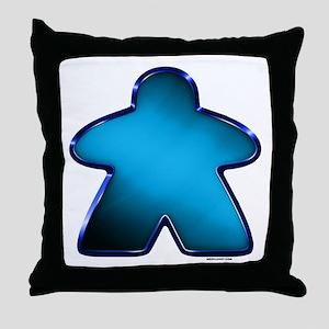Metallic Meeple - Blue Throw Pillow