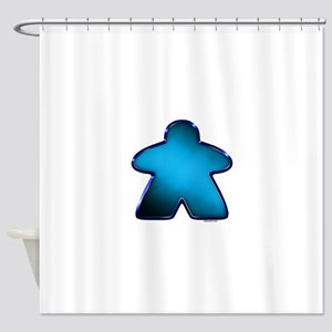 Metallic Meeple - Blue Shower Curtain