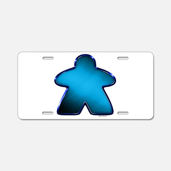 Metallic Meeple - Blue Aluminum License Plate