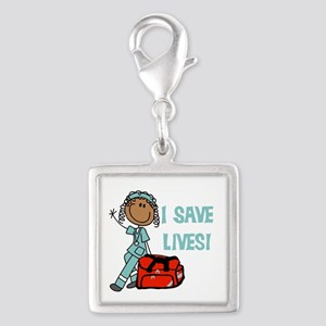 Female African American EMT Silver Square Charm