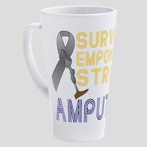 Amputee- Survivor, Empowered, Strong 17 oz Latte M