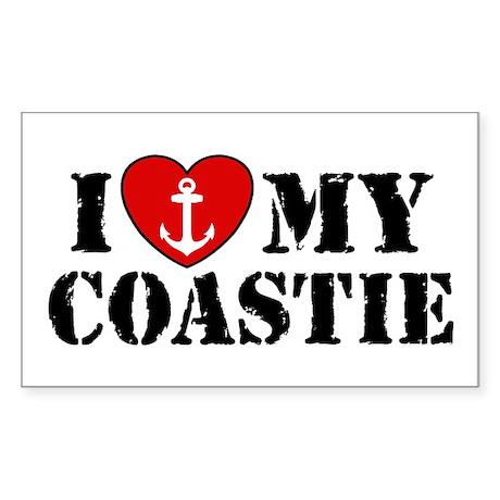 I Love My Coastie Rectangle Sticker
