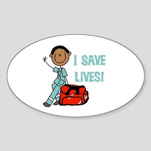 Male African American EMT Sticker (Oval)